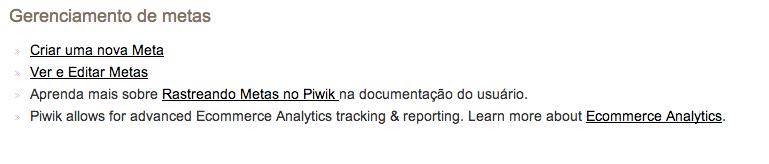 Gerencia de metas do Piwik 1
