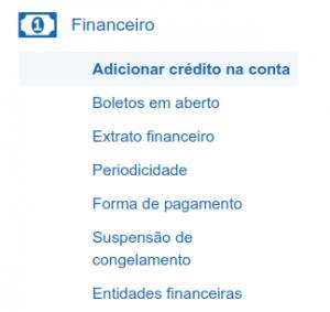 Menu Adicionar crédito na conta
