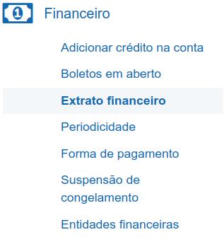Menu Extrato Financeiro