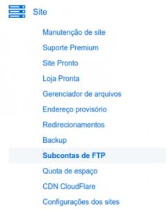 Subcontas de FTP 1
