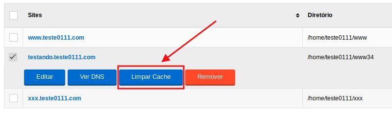 Opção de limpar cache