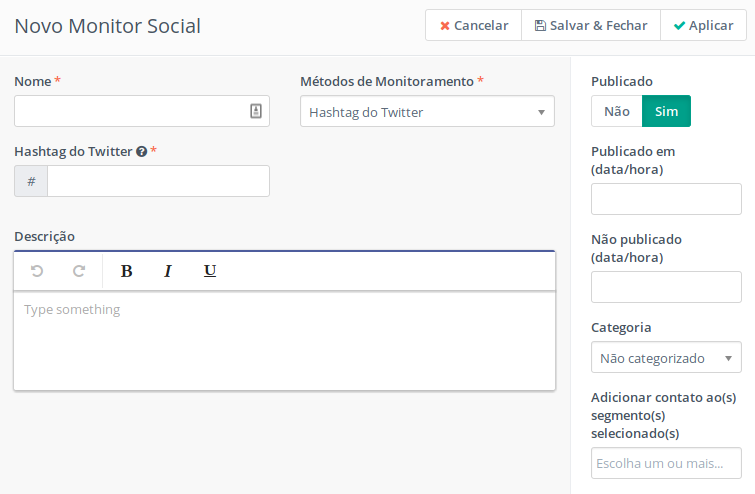 Monitor Social no Mautic