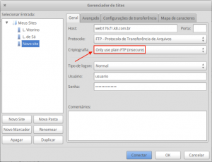 FTP via Filezilla sem utilizar encriptação TLS 4
