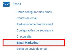 e-mail marketing no Painel de Controle 1