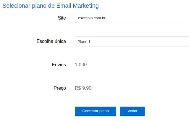 e-mail marketing no Painel de Controle 2