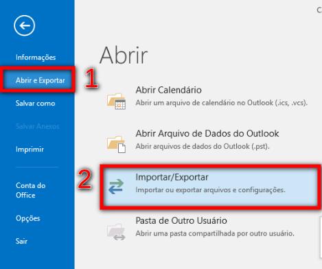 Passo 2 - menu Outlook