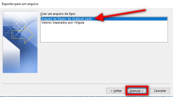 Passo 4 - arquivo de dados Outlook