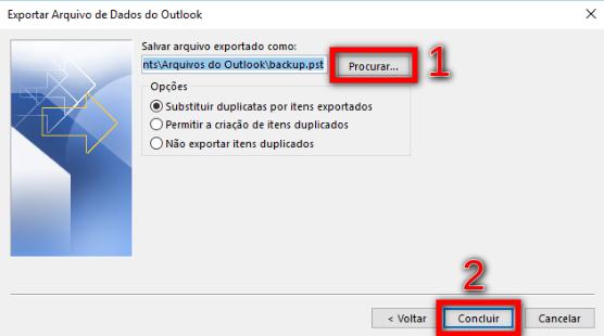 Passo 6 - Arquivo de Dados Outlook