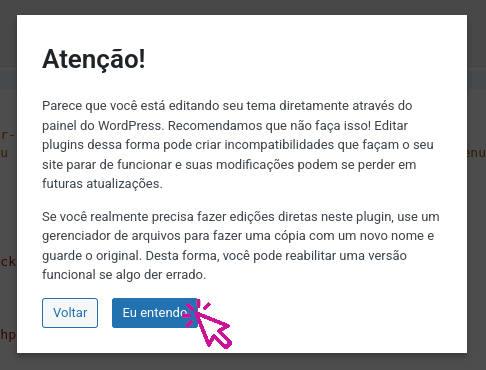 Mensagem de aviso ao editar plugin no wordpress