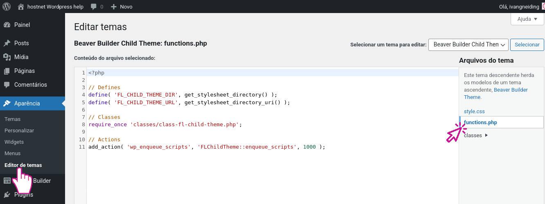 Acessando o arquivo functions.php do tema filho