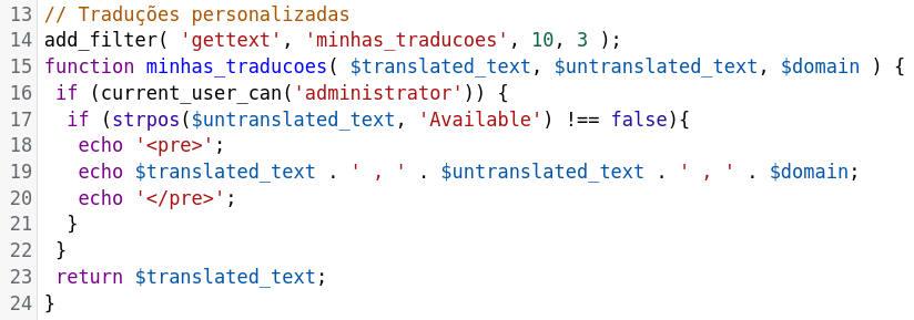 Inserindo o código de tradução no functions.php do tema filho