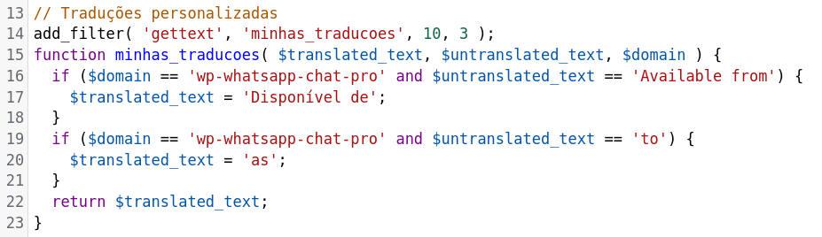 Arquivo functions.php editado para tradução com hook