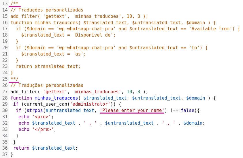 Adaptação do functions.php para nova depuração