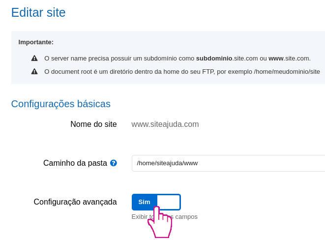 Acessando configurações do site na Hostnet